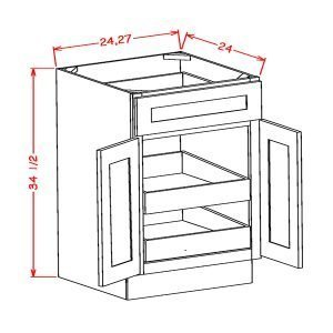Double-Door-Single-Drawer-2-Rollout-ShelfBase