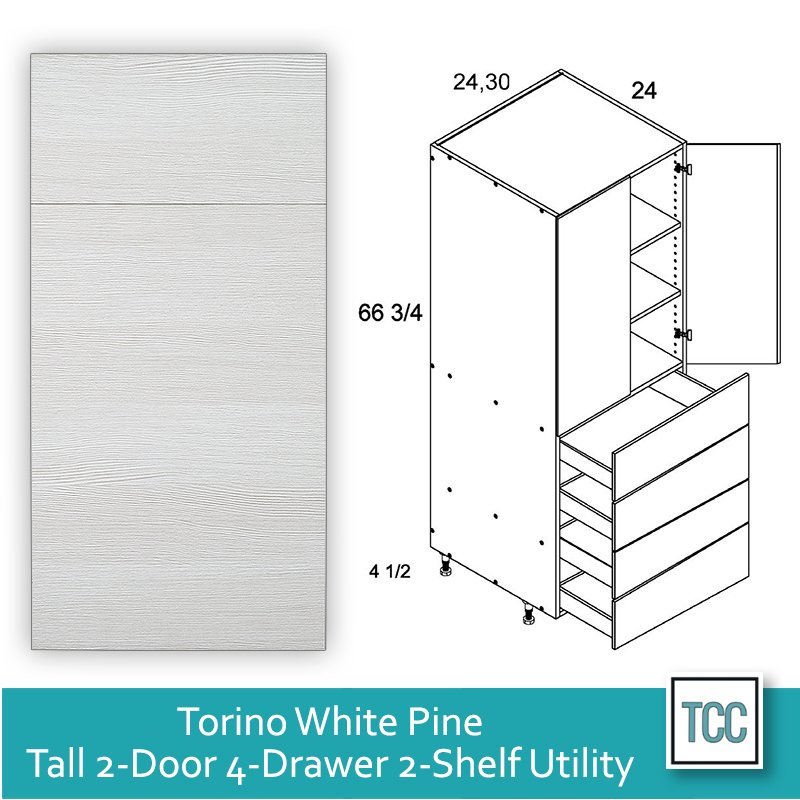Torino White Pine frameless 2-door, 2-shelf, 4-drawer utility cabinet
