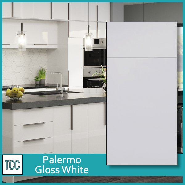 Palermo Gloss White kitchen cabinets