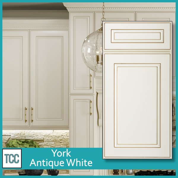 York Antique White framed cabinet door