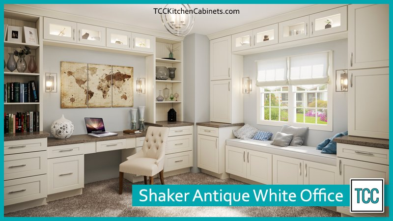 Shaker Antique White cabinets for your home office