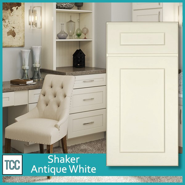 Shaker Antique White Cabinets used in a home office